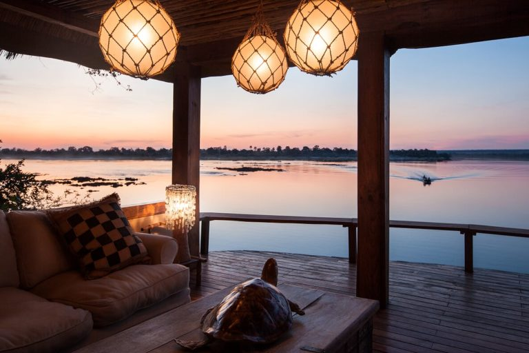 The lookout at Tongabezi delivers wonderful views at sunset