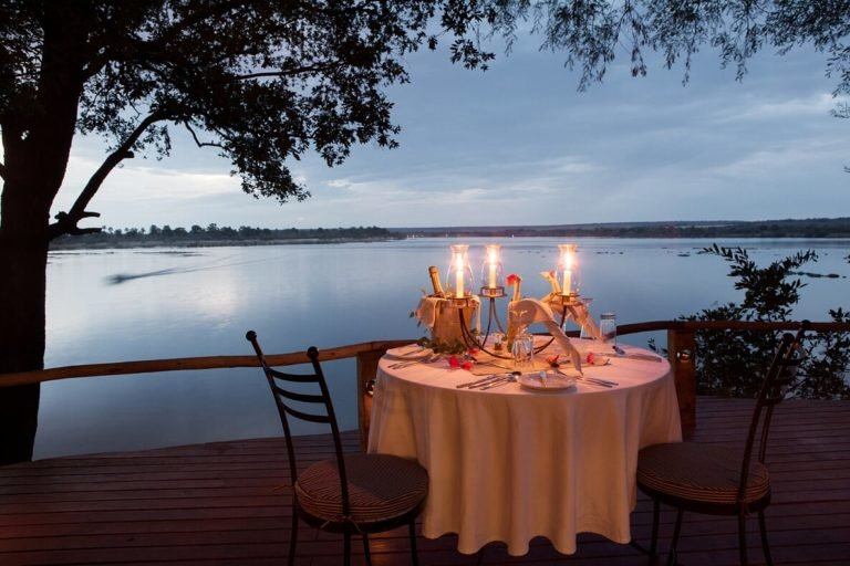 Private dining overlooking the Zambezi is offered in all cottages at Tongabezi