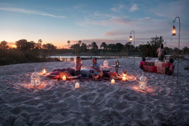 Sandbar sundowners are a romantic way to end the day at Tongabezi