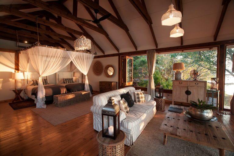 The Dog House bedroom layout and decor at Tongabezi