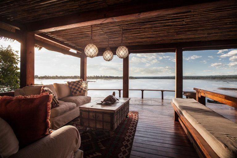 Panoramic Zambezi River views from The lookout lounge area at Tongabezi