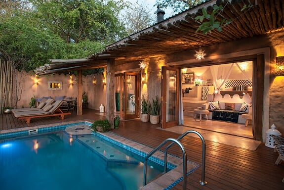 Tongabezi's Nuthouse comes with a private pool perfect for families