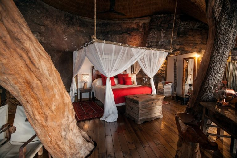 The Treehouse bedroom is built into the trees at Tongabezi