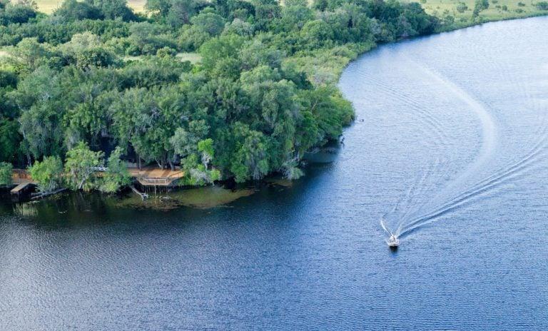 Aerial view of Xugana Island Lodge and permanent Xugana Lagoon