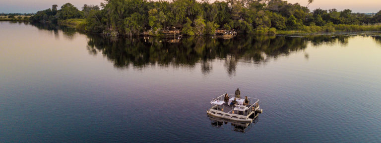 Aerial view of barge dinner setup offered to Xugana guests