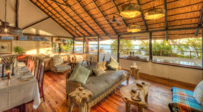 The spacious lounge area at Xugana Island Lodge