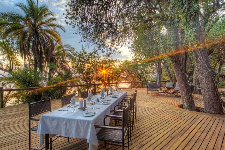 Xugana Island Lodge specializes in outdoor dining for guests