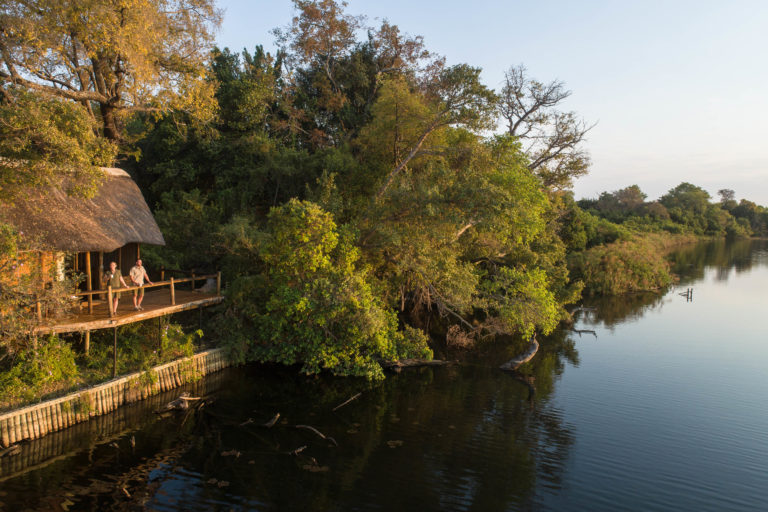 Xugana Island Lodge is situated right on the riverbank