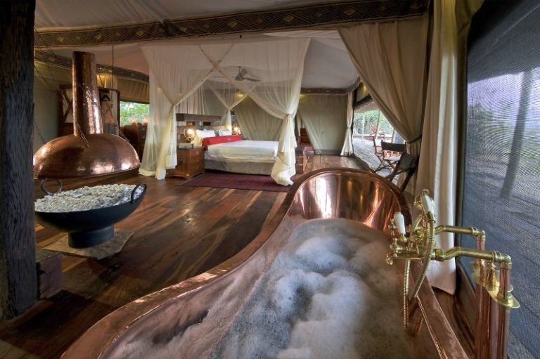 Full view of bedroom as seen from Copper bath tub at Zarafa