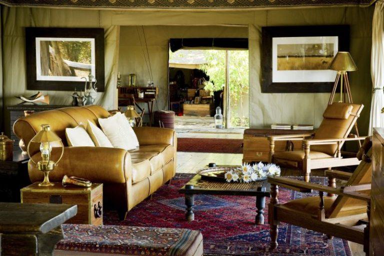 Beautifully furnished main lounge area at Zafara Camp
