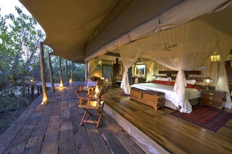 A generous deck gives view of beautiful interior of Zarafa guest tent