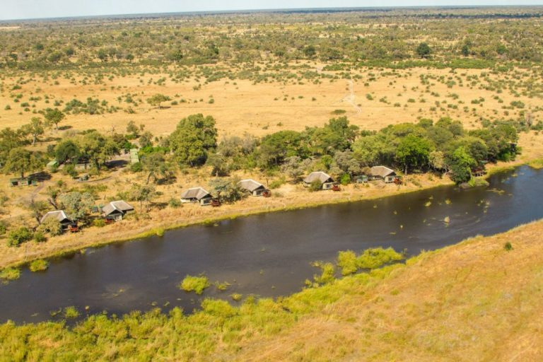 Ariel view of Lagoon Camp with the Kwando River
