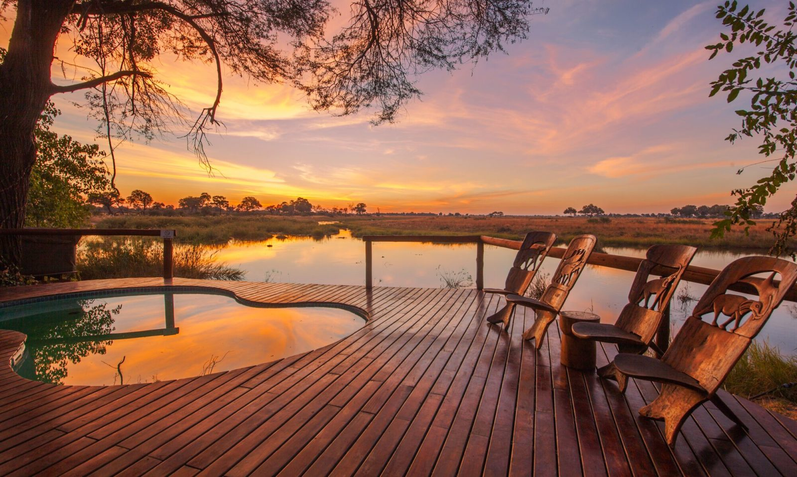 Stunning sunset views from the swimming pool deck at Lagoon Camp