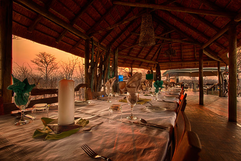 Hyena Pan guests enjoy meals in an open air dining area