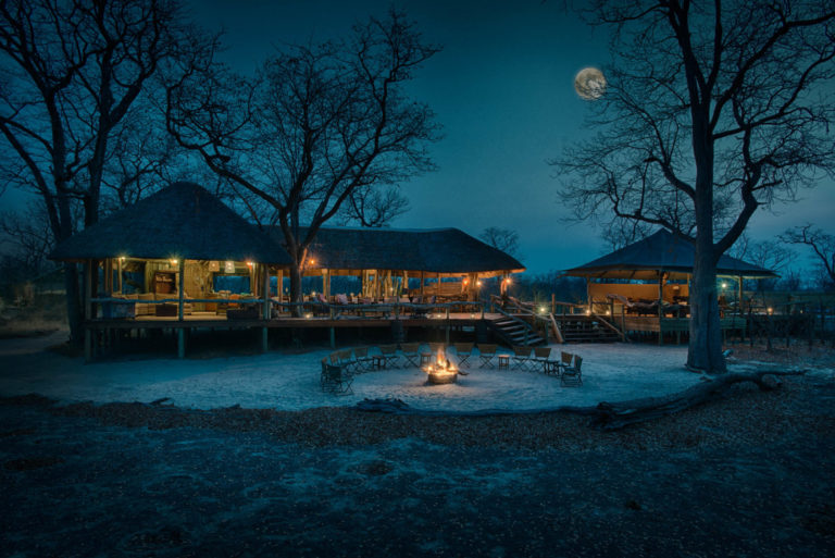 Evening falls over the lodge at Hyena Pan