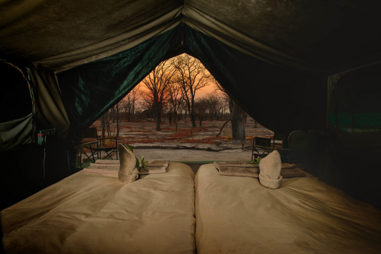 A peek outside the guest tent at Hyena Pan Camp