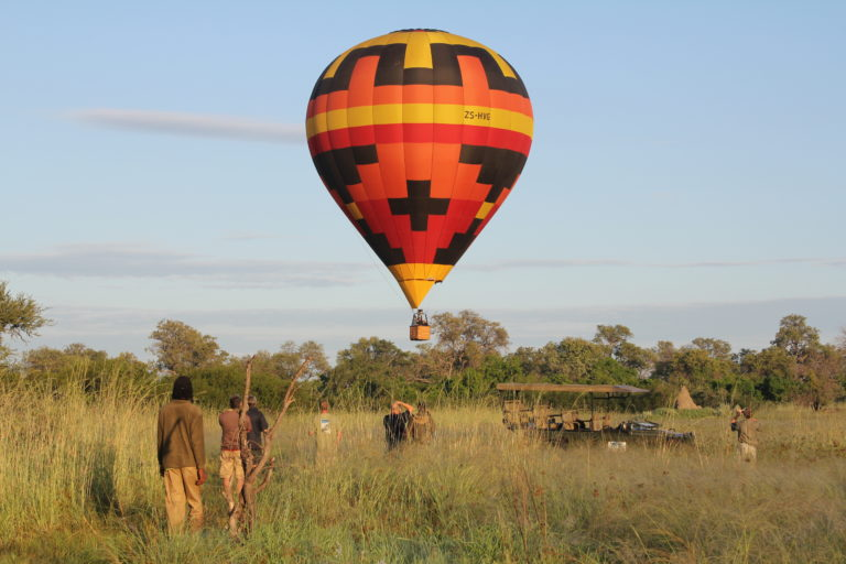 Hot air ballooning over the Okavango from Kadizora Camp
