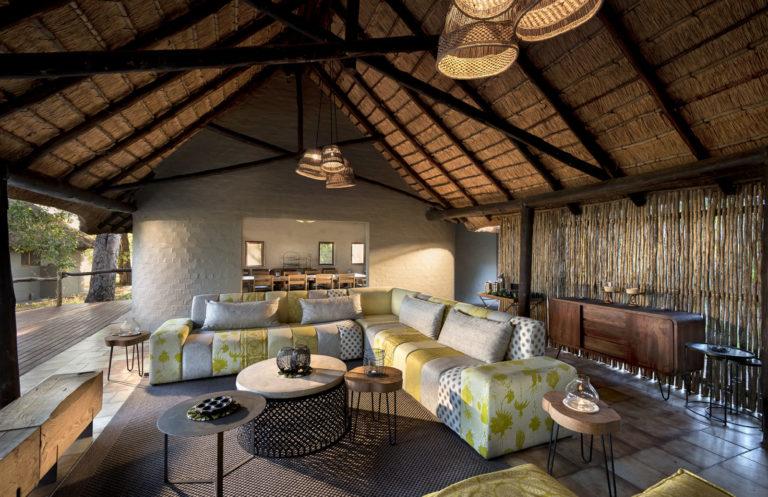 Open spacious lounge seating area at Khwai Bush Camp