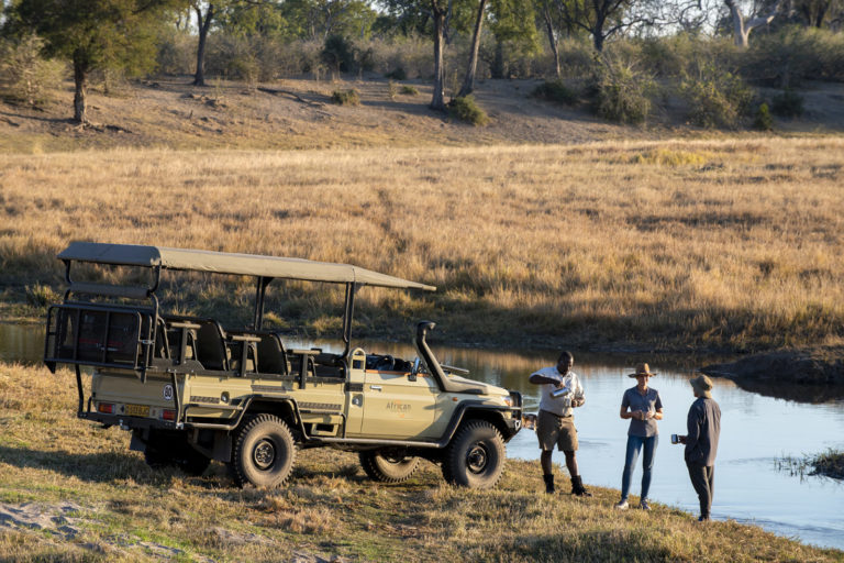 Afternoon game drive sundowners from Linyanti Ebony Camp