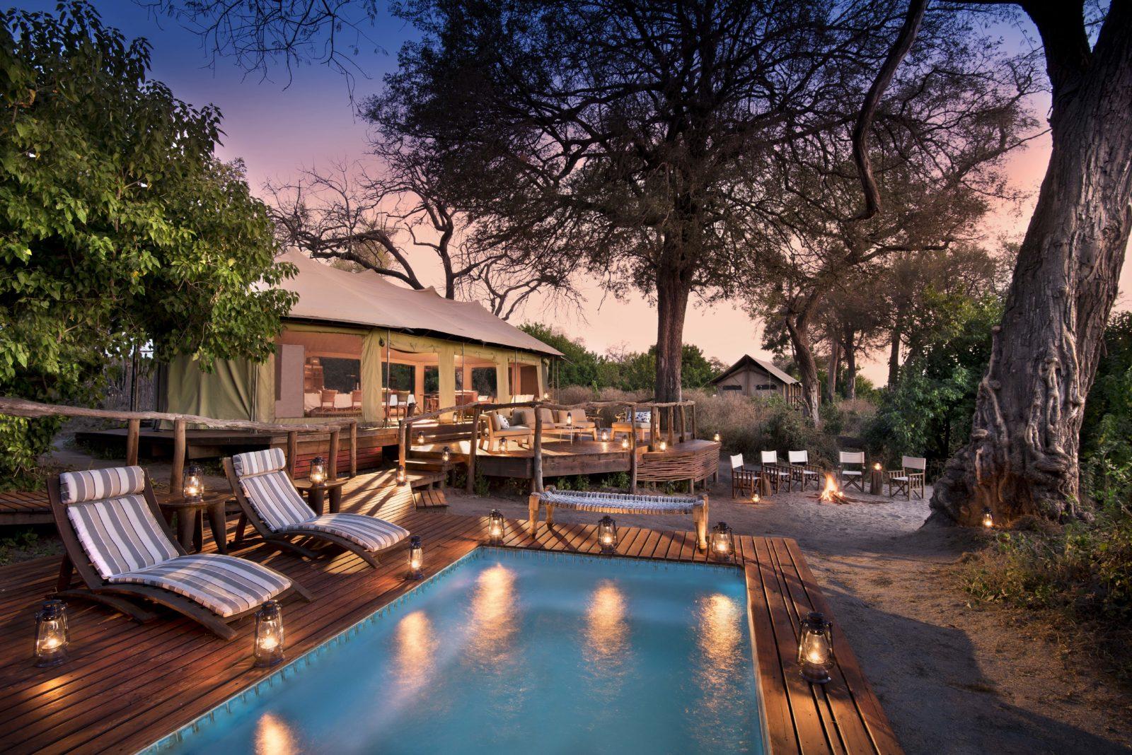 Evening view of Linyanti Ebony Camp swimming pool