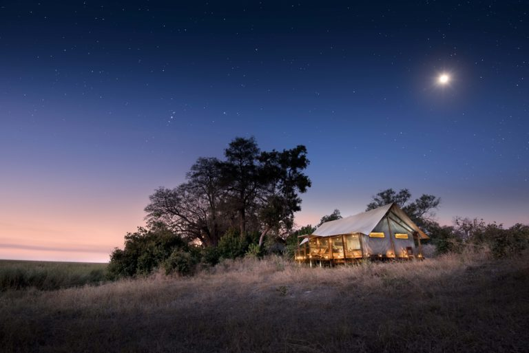 Moonlit view of Linyanti Ebony Camp