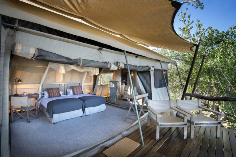 Interior of guest tent at Linyanti Expeditions