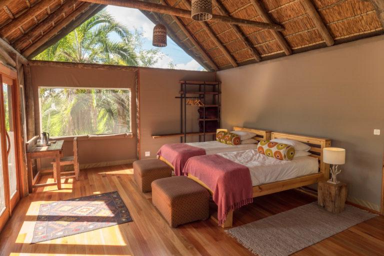 Traditionally styled safari accommodation at Nxamaseri Island Lodge