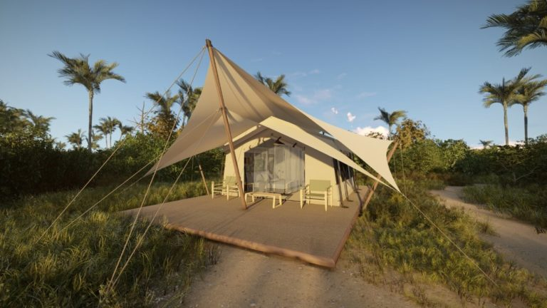 The attractive entrance to a guest tent at Amber Camp