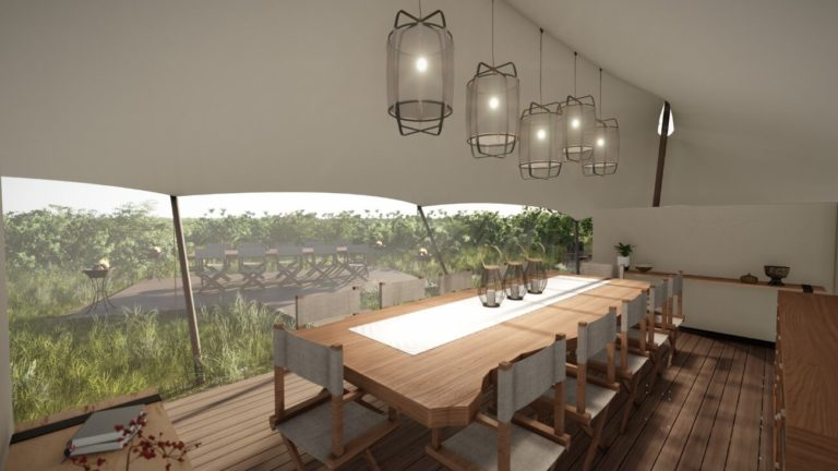 The stylish indoor dining area at Amber Camp