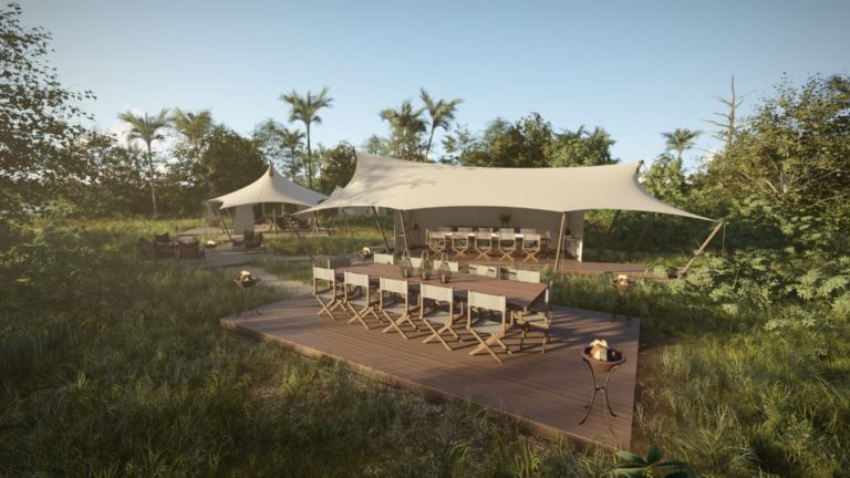 Dining is often outdoors at Amber Camp