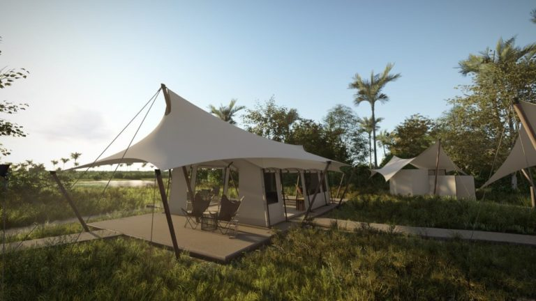 The airy sail like style of the guest tents at Amber