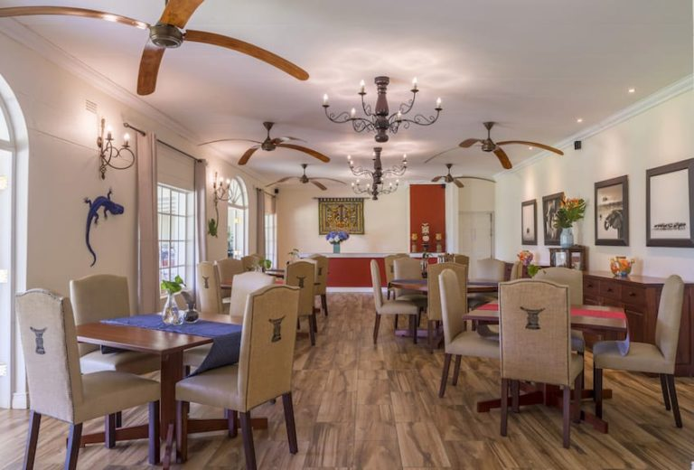 The indoor dining area at Batonka Guest Lodge