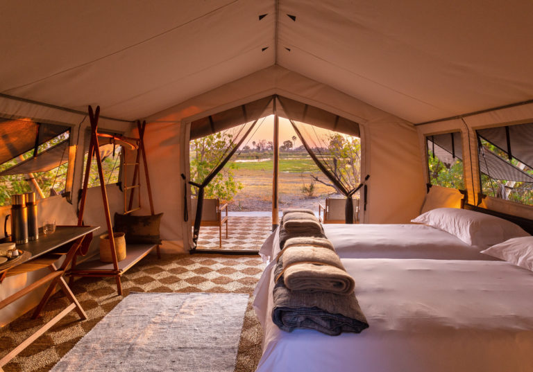 The tented rooms at Maru Camp are simple but stylish