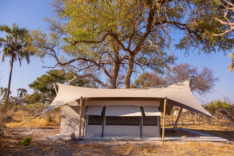The exterior view of the guest tents at Maru Camp
