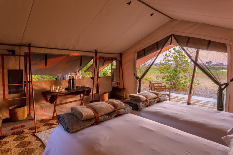 The tented twin bed set up at Camp Maru
