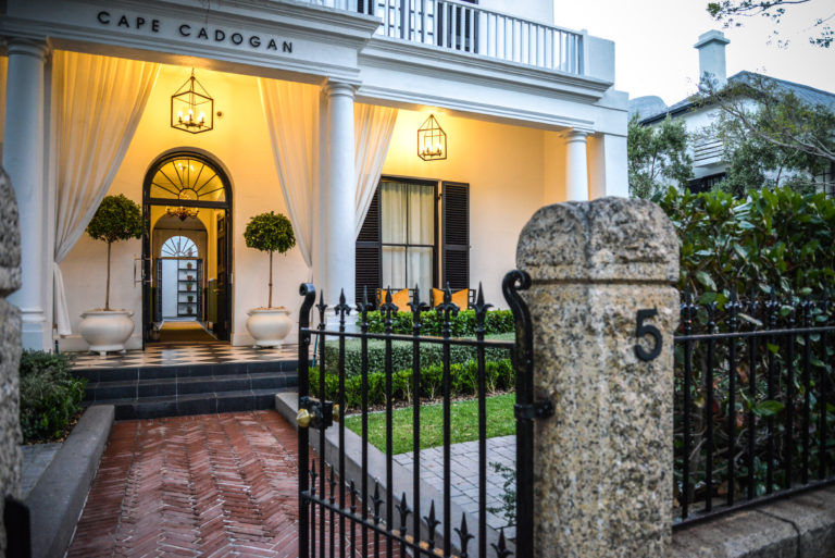 The entrance to the Cape Cadogan hotel