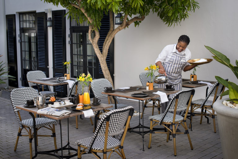 Breakfast is also served on the patio at Cape Cadogan