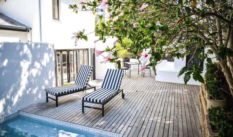 The superior luxury suite private pool deck at Cape Cadogan