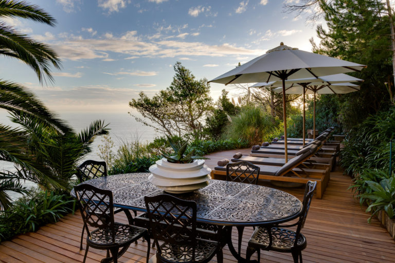 Cape View Clifton garden sun loungers with sea view