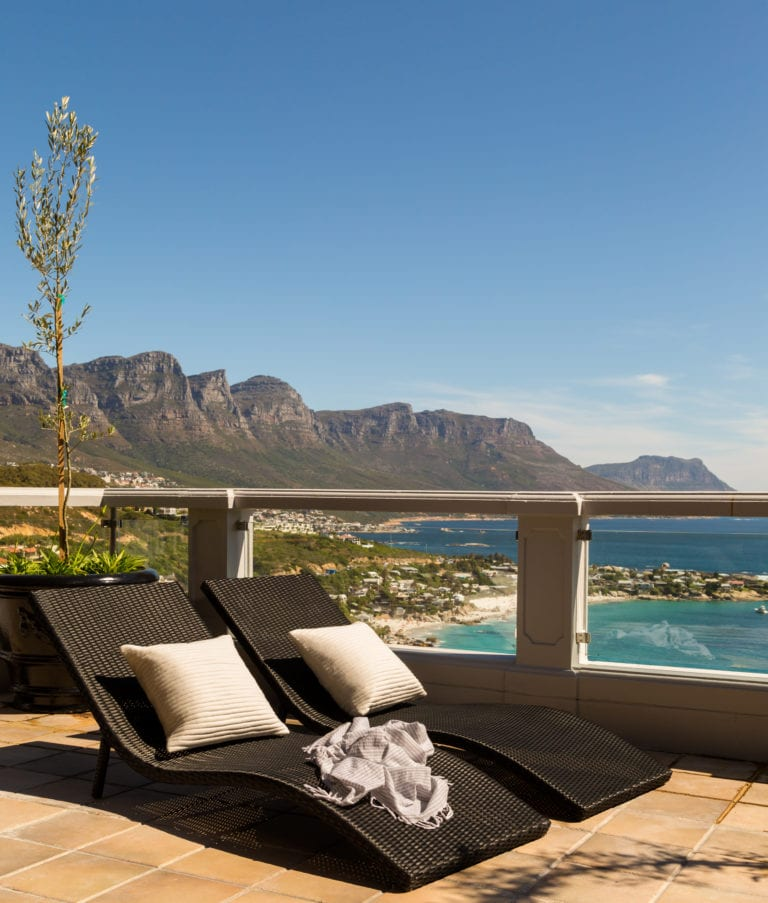 Cape View Clifton sunloungers with ocean view