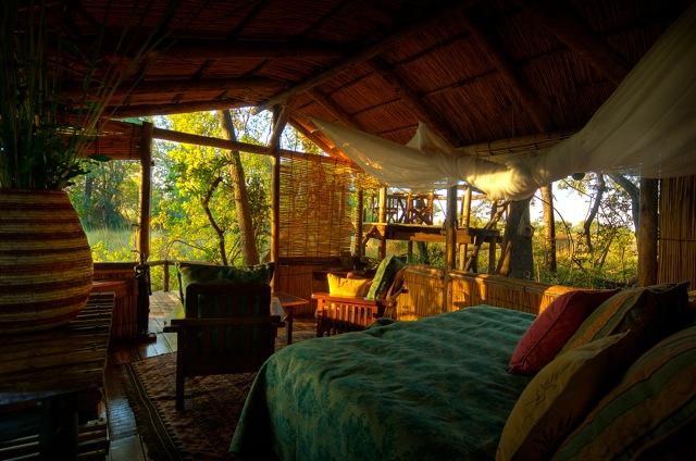 Guest tent interior and decor at Delta Camp