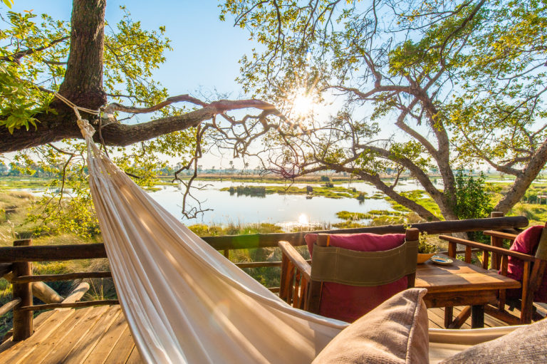 Delta Camp hammocks swing from guest decks providing perfect siesta spots