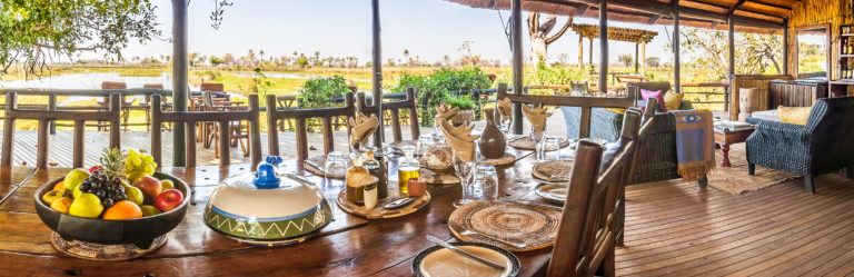 Delta Camp's dining area has wonderful views and mouthwatering food