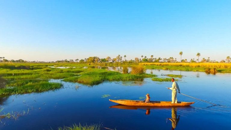 Deep blue waters of the Delta as seen on Mokoro excursion