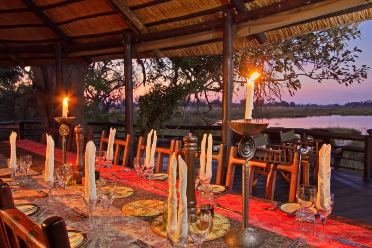 The dining area in the early evening at Delta Camp
