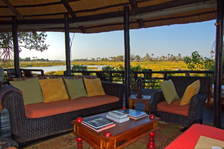 The lounge area with open views of the Okavango at Delta Camp