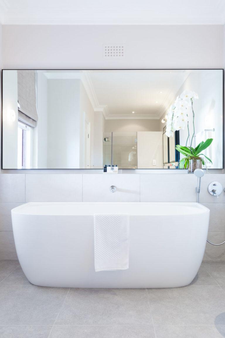 Elegance in white bathroom at Ellerman House