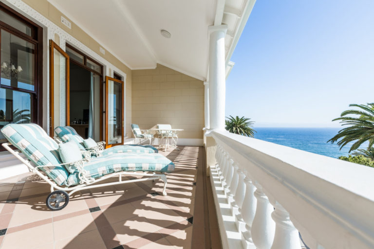 The balcony of the Deluxe room at Ellerman House with fabulous views