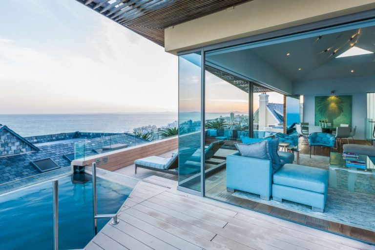 The private pool and deck view from the Ellerman Villas