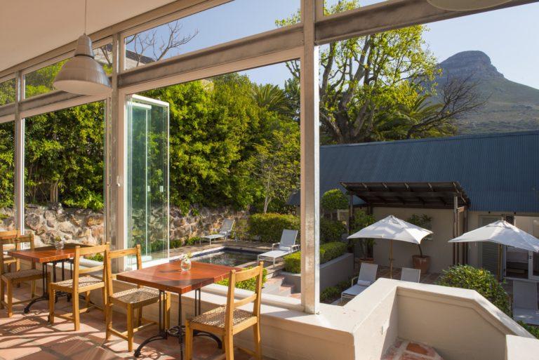 Four Rosmead garden through glass view